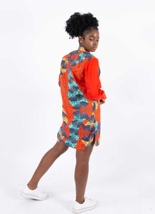 African Print Boyfriend Dress - Ovie, Female, Dial_Outfits, Dial_Outfits