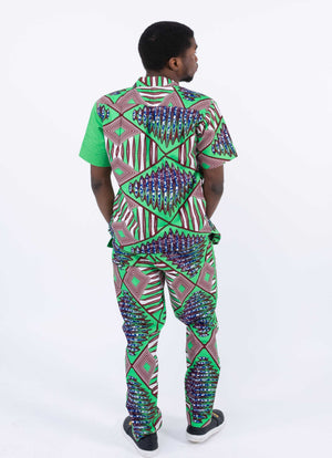 African Print Short Sleeve Set - Tega, Male, Dial_Outfits, Dial_Outfits