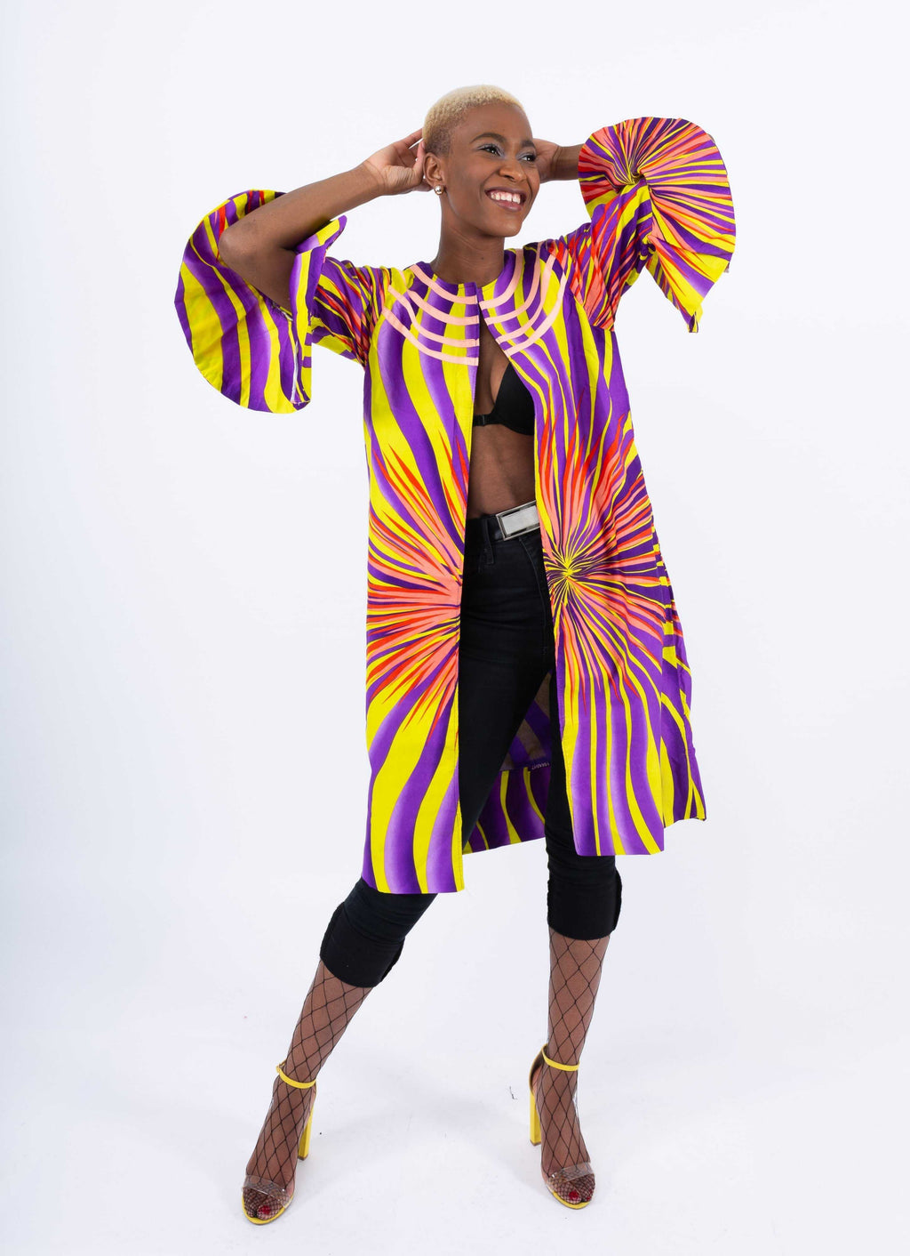 African Print Flare Hand Kimono - Mena, Female, Dial_Outfits, Dial_Outfits