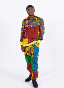 African Print Long Sleeve Set - Ajiri, Male, Dial_Outfits, Dial_Outfits