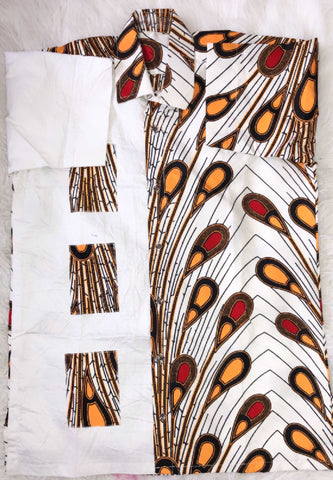 African Print Short Sleeve Top - Tega, Male, Dial_Outfits, Dial_Outfits