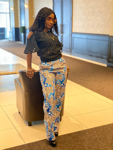African Print Boot Cut Pants - Kaffy