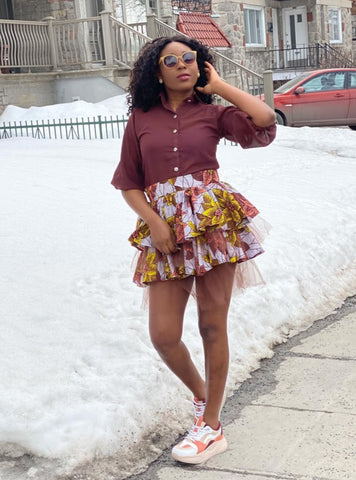 Image of Two Piece Skirt Brown Set - Ogaga
