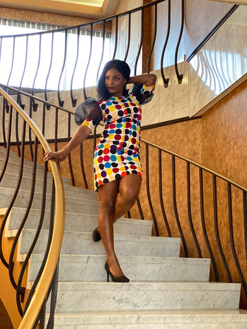 Image of African Print Multcolored Dress - Rena