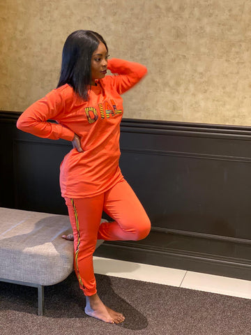 Image of Two Piece Joggers Orange Set - Kenu