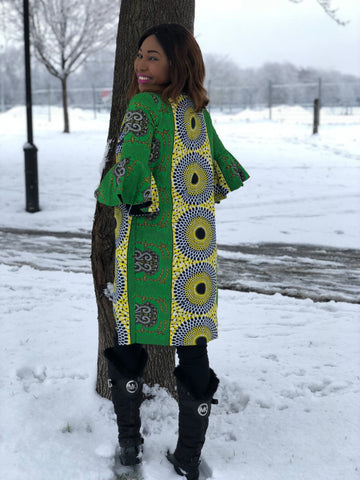Image of African Print Flare Hand Kimono - Mena Green
