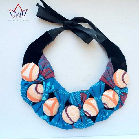 Image of African Print Bownot Button Choker Necklace WYX14 | Dial_Outfits