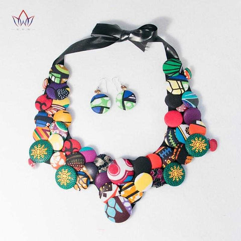 Image of African Print Bib Jewelry Set WYA070 | Dial_Outfits