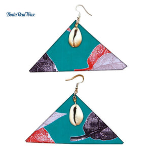 African Print Shells Drop Earrings Earrings WYB314 | Dial_Outfits