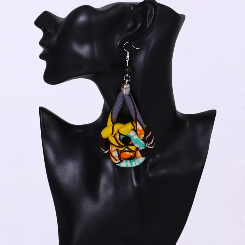 African Print Pendant Fantasy Earrings WYb349 | Dial_Outfits