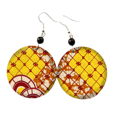 Image of African Print Oversize Earrings WYB286 | Dial_Outfits