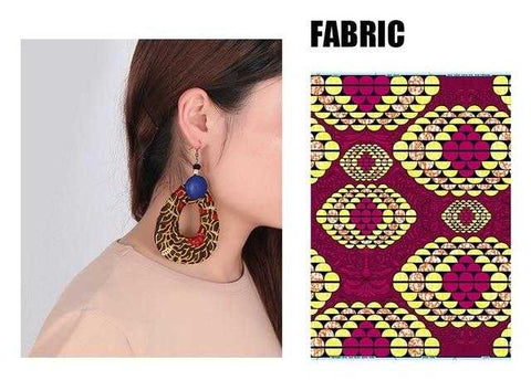 Image of African Print Chunky Earrings WYB55 | Dial_Outfits