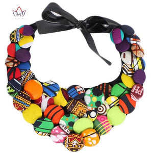 African Print Multistrand Necklace WYA068 | Dial_Outfits