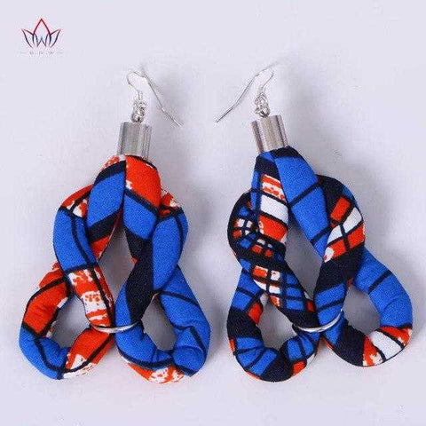 Image of African Print Flower Shape Earrings WYB358 | Dial_Outfits
