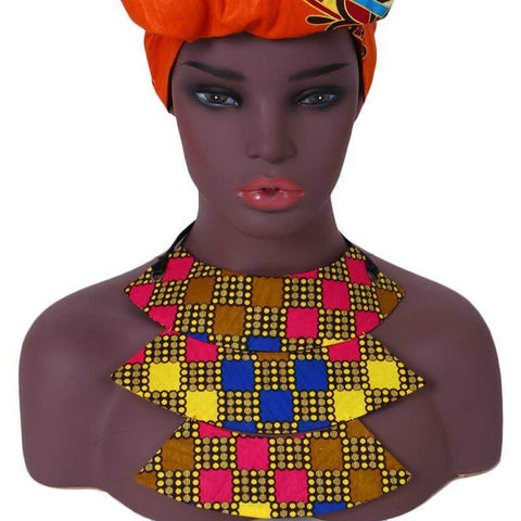 Image of African Print Collar Necklace WYB341 | Dial_Outfits