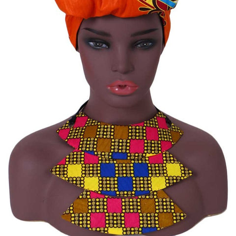 African Print Collar Necklace WYB341 | Dial_Outfits