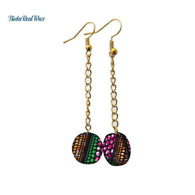 African Print Round Drop Earrings WYB316 | Dial_Outfits