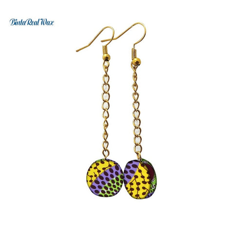 Image of African Print Round Drop Earrings WYB316 | Dial_Outfits