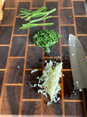 Chopped parsley and garlic cloves