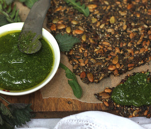 Dandelion Crispbread with Nettle Pesto