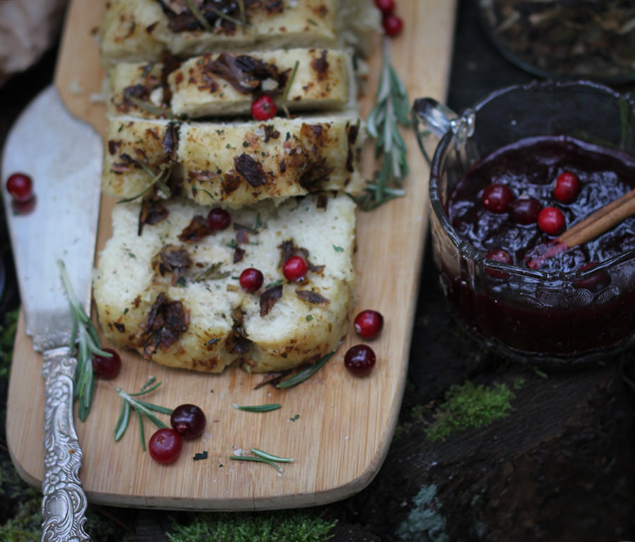 Porcini Foccacia with Cranberry Chutney