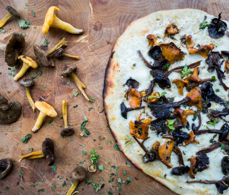 White Pizza with Nettle Marinated Mushrooms