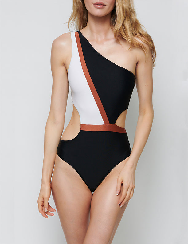 NADIA TRI-COLOR ONE SHOULDER MAILLOT
