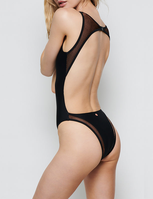 JENNA HIGH NECK MESH BACK ONE PIECE