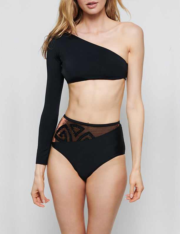 LIMITED EDITION NATALIA EMBROIDERED ONE SLEEVE BIKINI
