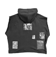 Patched Sleeveless Hoodie