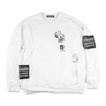 Distressed White Patched Sweatshirt