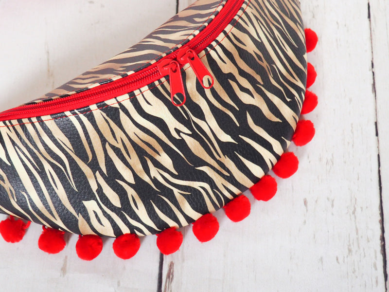 Hot Red Tiger Fanny Bag