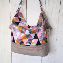 Load image into Gallery viewer, Pink Triangles Hobo Bag