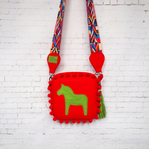 Red Felt Crossbody bag
