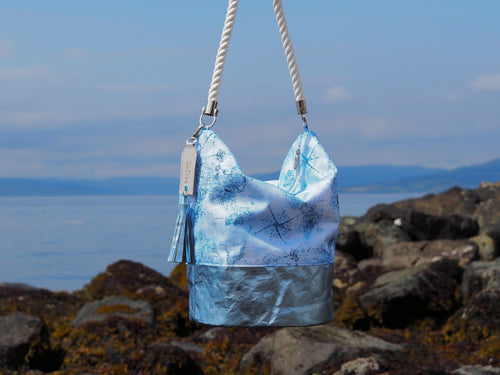 Map Bucket Hobo Bag - Tocha Studio