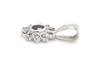 14k White Gold Pendant with Red Ruby Center and Diamond Halo - .35 ct. total