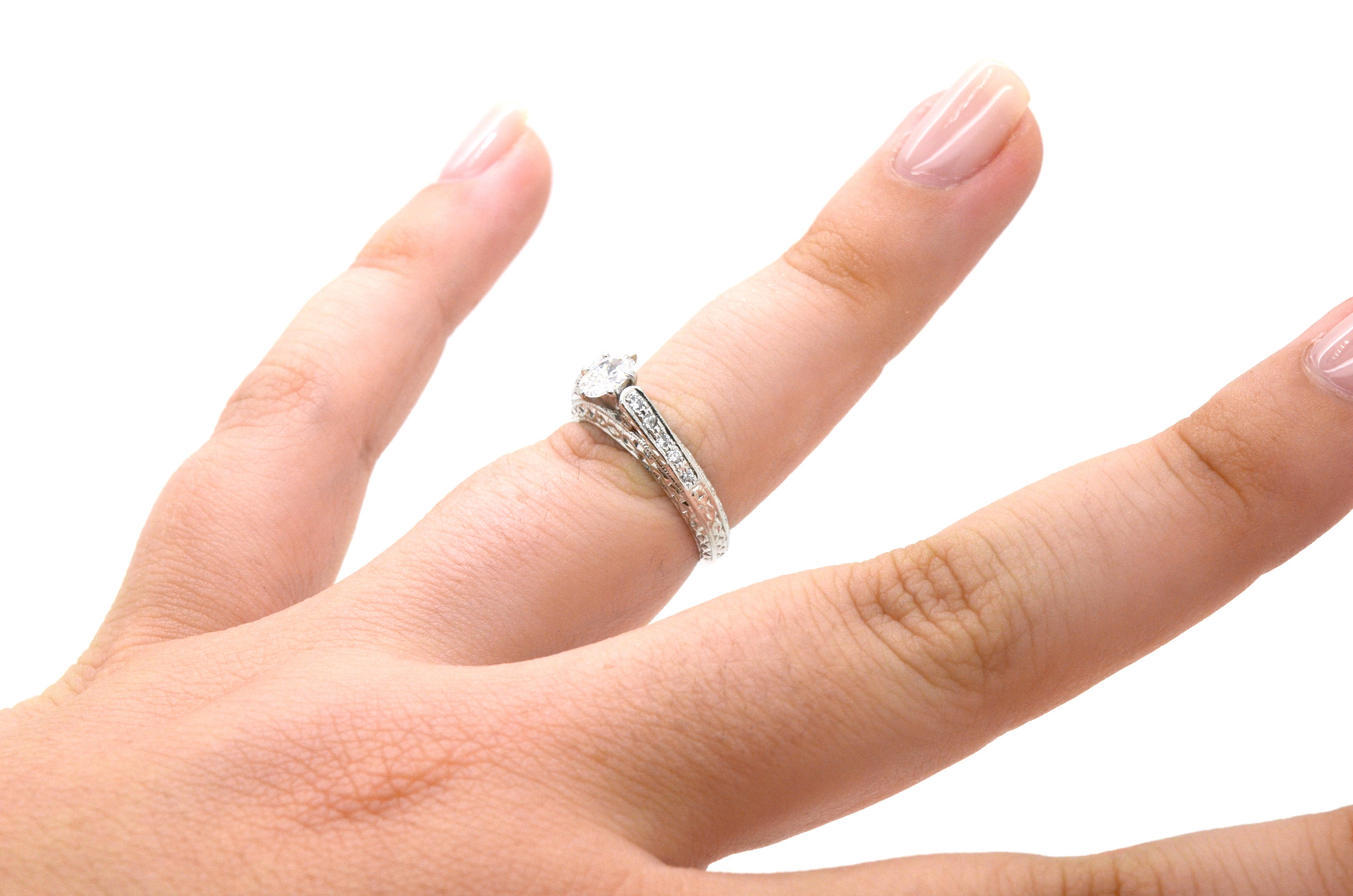 Platinum Oval Shaped Diamond Engagement Ring - .55 ct. total - Size 5.25