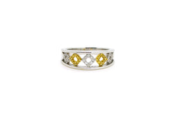 18k White & Yellow Gold Diamond Two-Toned Design Band Ring - .45 ct. tw - Size 7