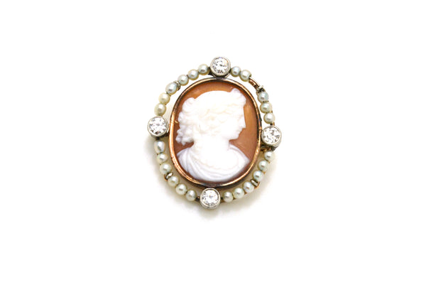 Vintage 14k Yellow Gold Cameo Brooch with Diamonds & Seed Pearls - .75 ct. total