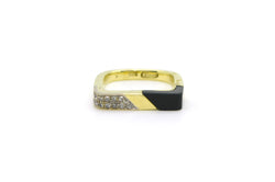 Retro 14k Yellow Gold Onyx & Diamond Ring - Euro Shank - .10 ct. total - Size 6