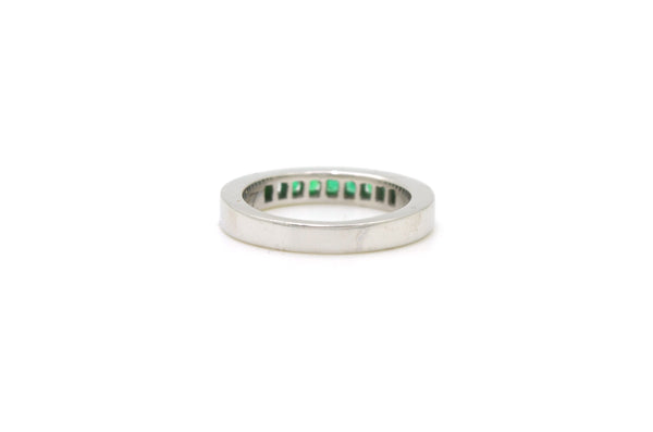 14k White Gold Channel Set Emerald 9-stone Band Ring - .30 ct. total - Size 5