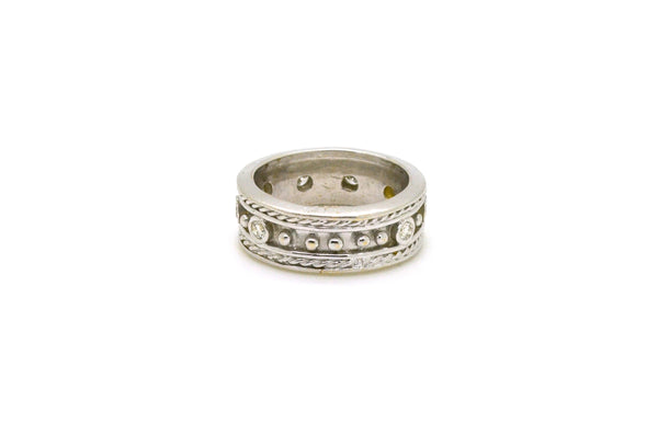 18k White Gold Round Diamond Textured 8mm Band Ring - .80 ct. total - Size 7.75