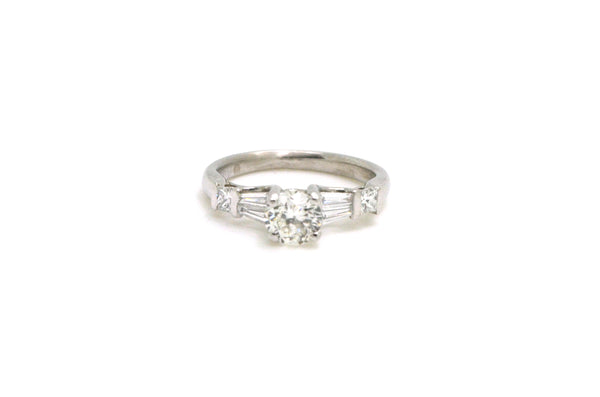 Platinum Round Diamond Engagement Ring with Mixed Sides - 1.05 ct. tw - Size 5