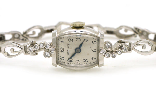 Vintage Ladies 14k White Gold Longines Watch with Diamonds - 1.00 ct. total