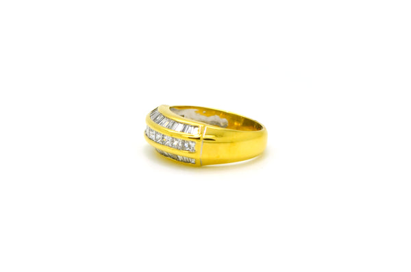 18k Yellow Gold Princess & Baguette Diamond Band Ring - 2.00 ct. tw - Size 6.75