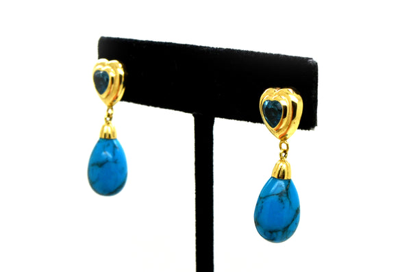 14k Yellow Gold Blue Topaz & Turquoise Dangle Heart Earrings - 31 mm Drop