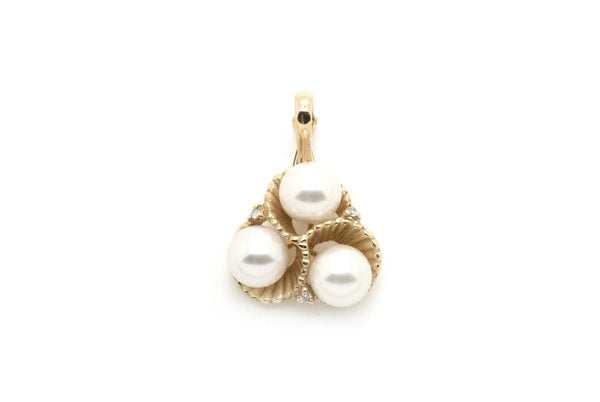 14k Yellow Gold Three 7 mm White Pearl & Diamond Drop Pendant - .03 ct. total