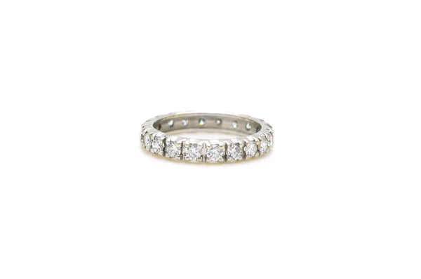 14k White Gold Diamond Eternity 3.4 mm Band Ring - 1.40 ct. total - Size 5