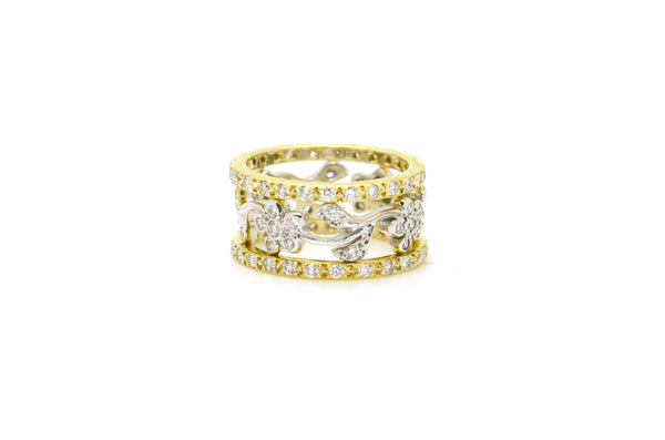 14k Yellow & White Gold Scroll Diamond Band Ring - 2.00 ct. total - Size 6.25