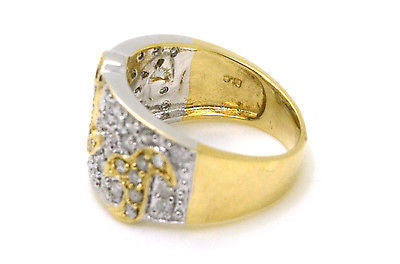 10k White & Yellow Gold Diamond Statement Band Ring - .75 ct. total - Size 7